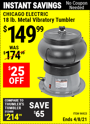 Buy the CHICAGO ELECTRIC 18 Lb. Metal Vibratory Tumbler (Item 96923) for $149.99, valid through 4/8/2021.
