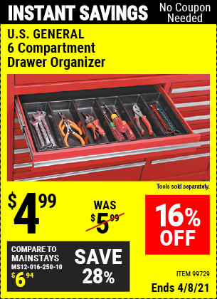 Buy the U.S. GENERAL 6 Compartment Drawer Organizer (Item 99729) for $4.99, valid through 4/8/2021.