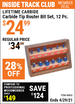 Inside Track Club members can buy the LIFETIME CARBIDE Carbide Tip Router Bit Set 12 Pc. (Item 46832) for $24.99, valid through 4/29/2021.