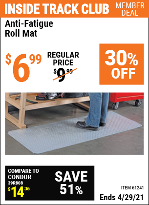 Inside Track Club members can buy the HFT Anti-Fatigue Roll Mat (Item 61241) for $6.99, valid through 4/29/2021.