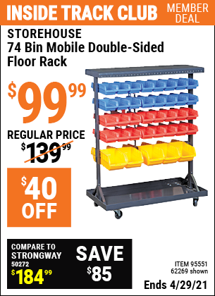 Inside Track Club members can buy the STOREHOUSE 74 Bin Mobile Double-Sided Floor Rack (Item 62269/95551) for $99.99, valid through 4/29/2021.