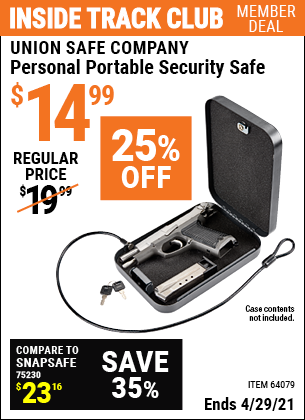 Inside Track Club members can buy the UNION SAFE COMPANY Personal Portable Security Safe (Item 64079) for $14.99, valid through 4/29/2021.