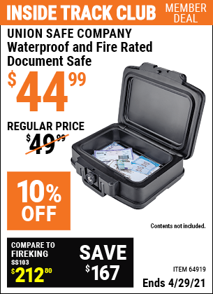 Inside Track Club members can buy the UNION SAFE COMPANY Waterproof and Fire Rated Document Safe (Item 64919) for $44.99, valid through 4/29/2021.
