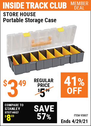 Inside Track Club members can buy the Portable Storage Case (Item 95807) for $3.49, valid through 4/29/2021.