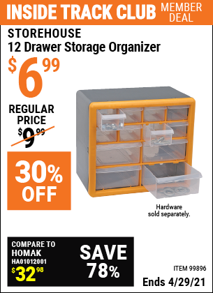 Inside Track Club members can buy the STOREHOUSE 12 Drawer Storage Organizer (Item 99896) for $6.99, valid through 4/29/2021.