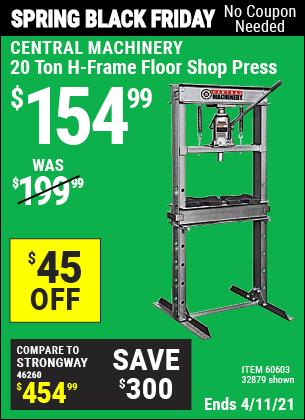 20 Ton H-Frame Floor Shop Press