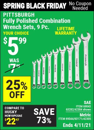 Fully Polished SAE Combination Wrench Set, 9 Pc.