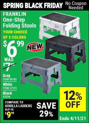 Buy the FRANKLIN One-Step Folding Stool (Item 56185) for $6.99, valid through 4/11/2021.