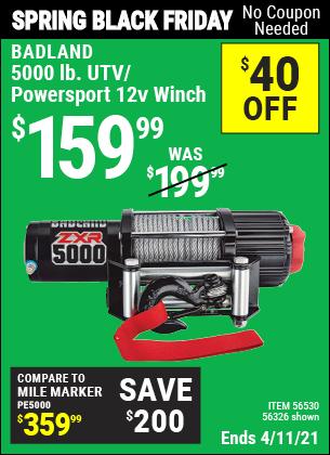 5000 lb. UTV/Powersport 12V Winch