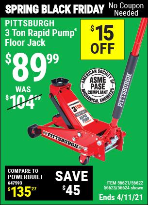 3 ton Rapid Pump® Floor Jack