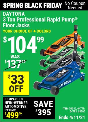 3 ton Professional Rapid Pump® Floor Jack, Blue