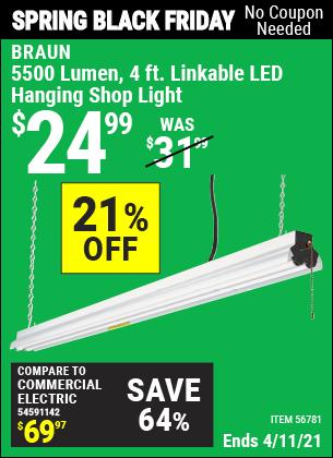 5500 Lumen 4 Ft. Linkable LED Hanging Shop Light