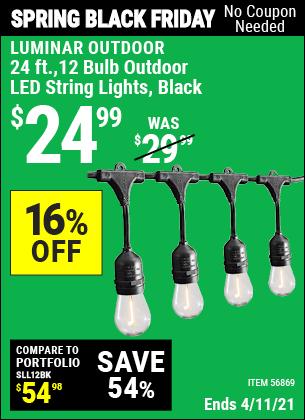 24 Ft. 12 Bulb Outdoor LED String Lights, Black