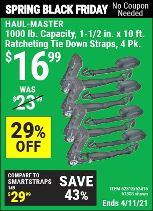1000 lb. Capacity 1-1/2 in. x 10 ft. Ratcheting Tie Down Straps, 4 Pk.