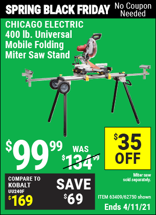 400 lb. Universal Mobile Folding Miter Saw Stand