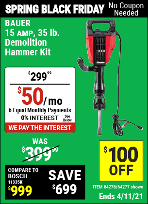 15 Amp 35 lb. Demolition Hammer Kit