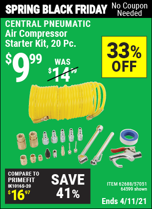Buy the CENTRAL PNEUMATIC Air Compressor Starter Kit 20 Pc. (Item 64599/62688/57051) for $9.99, valid through 4/11/2021.