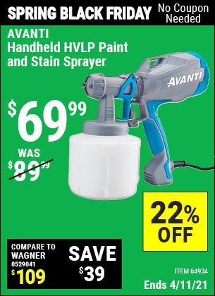 Buy the AVANTI Handheld HVLP Paint & Stain Sprayer (Item 64934) for $69.99, valid through 4/11/2021.