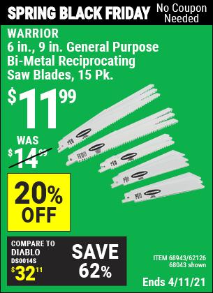 6 in., 9 in. General Purpose Bi-Metal Reciprocating Saw Blade, 15 Pk.