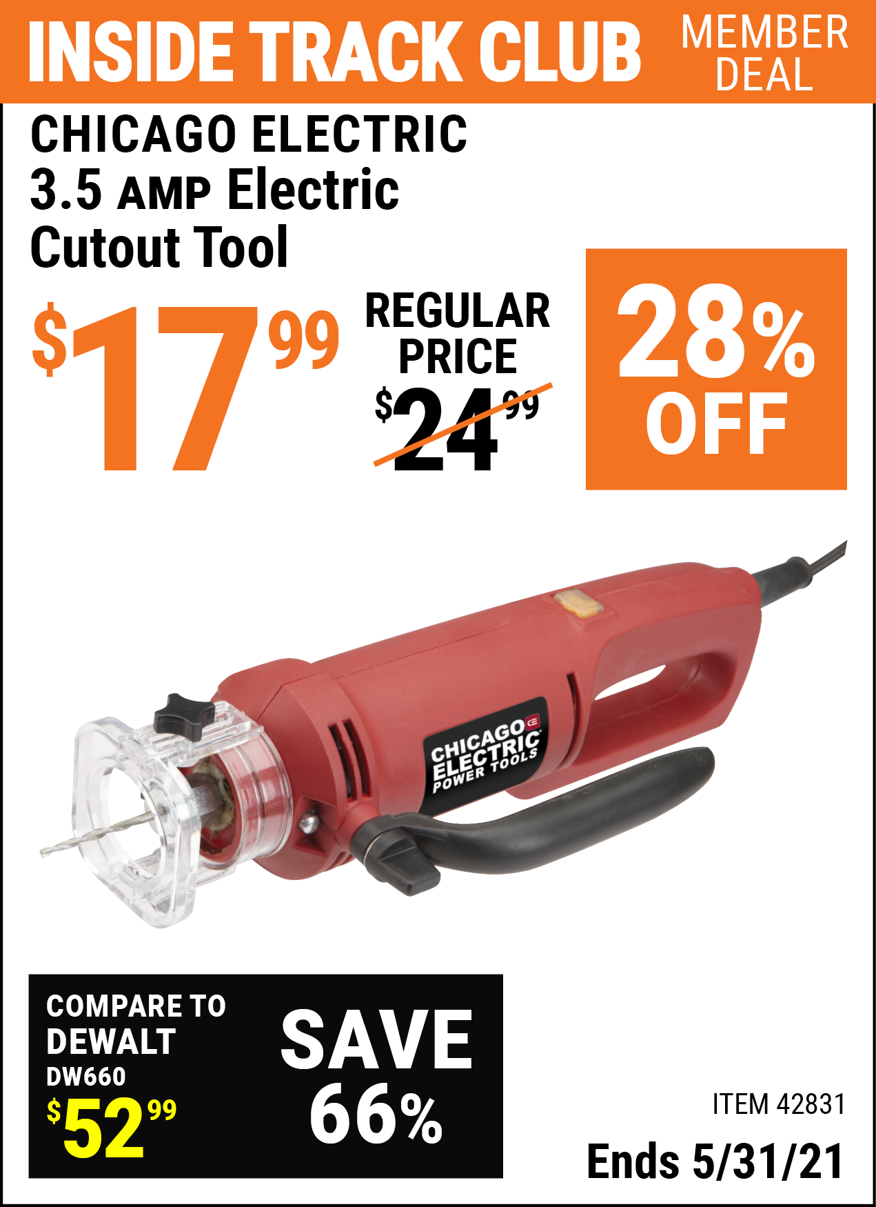 Inside Track Club members can buy the CHICAGO ELECTRIC 3.5 Amp Heavy Duty Electric Cutout Tool (Item 42831) for $17.99, valid through 5/31/2021.