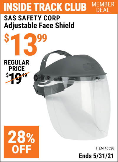 Inside Track Club members can buy the SAS SAFETY CORP Adjustable Face Shield (Item 46526) for $13.99, valid through 5/31/2021.