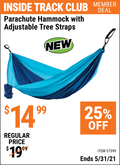 Inside Track Club members can buy the Parachute Hammock With Adjustable Tree Straps (Item 57399) for $14.99, valid through 5/31/2021.