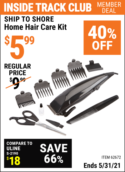 Inside Track Club members can buy the SHIP TO SHORE Home Hair Care Kit (Item 62672) for $5.99, valid through 5/31/2021.