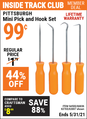 Inside Track Club members can buy the PITTSBURGH Mini Pick and Hook Set (Item 63697/94500/66836/63765) for $0.99, valid through 5/31/2021.