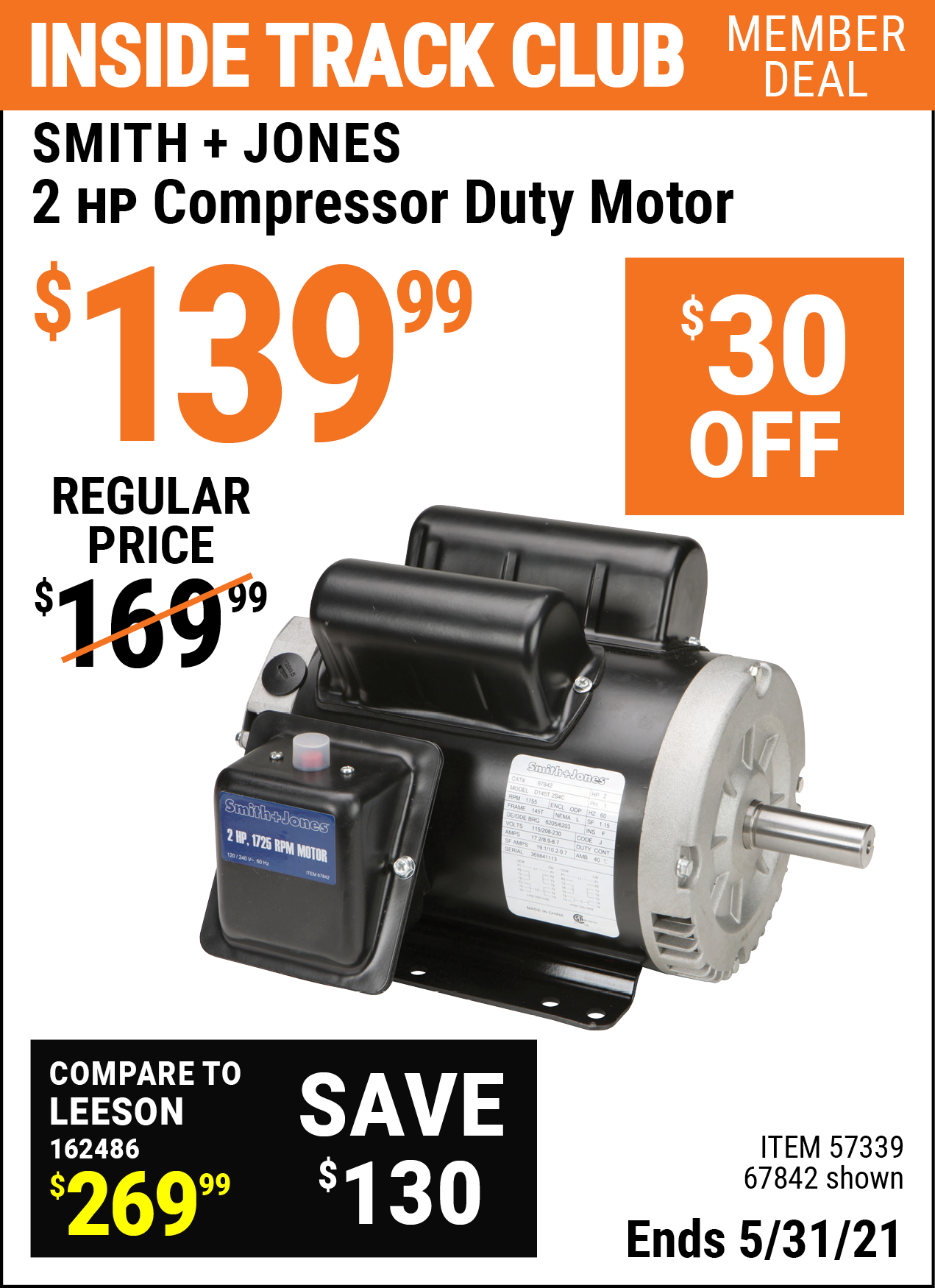 Inside Track Club members can buy the SMITH + JONES 2 HP Compressor Duty Motor (Item 67842/57339) for $139.99, valid through 5/31/2021.