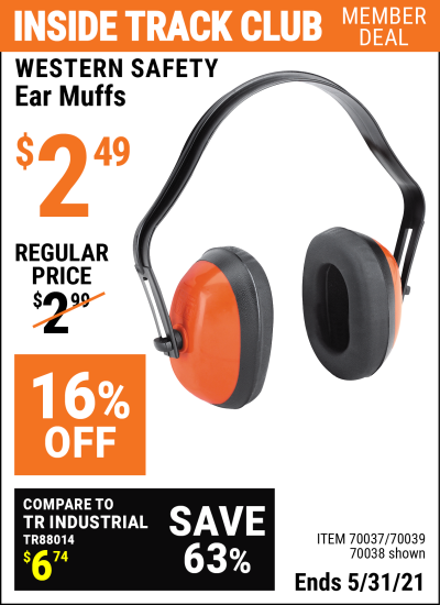 Inside Track Club members can buy the WESTERN SAFETY Industrial Ear Muffs (Item 70038/70037/70039) for $2.49, valid through 5/31/2021.