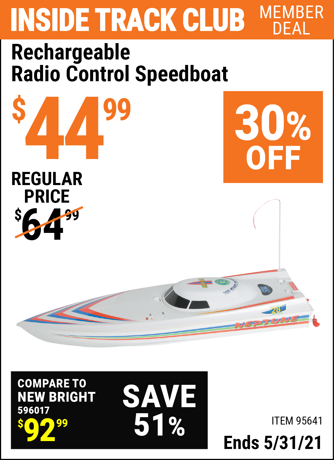 Inside Track Club members can buy the Rechargeable Radio Control Speedboat (Item 95641) for $44.99, valid through 5/31/2021.