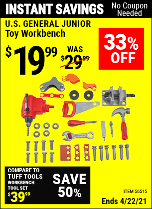 Buy the U.S. GENERAL JUNIOR Toy Workbench (Item 56515) for $19.99, valid through 4/22/2021.