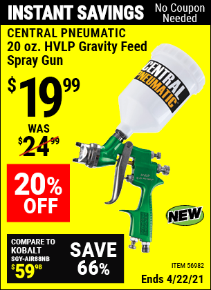 Buy the CENTRAL PNEUMATIC 20 Oz. HVLP Gravity Feed Spray Gun (Item 56982) for $19.99, valid through 4/22/2021.