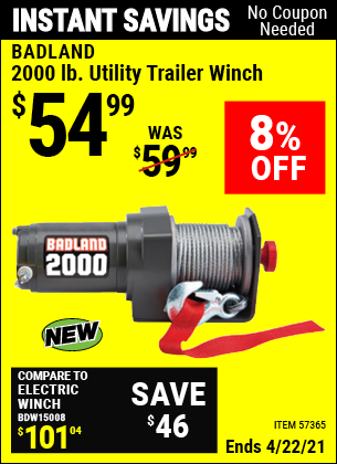 Buy the BADLAND 2000 Lb. Utility Trailer Winch (Item 57365) for $54.99, valid through 4/22/2021.
