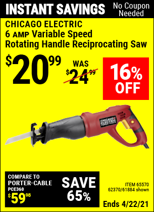 Buy the CHICAGO ELECTRIC 6 Amp Heavy Duty Variable Speed Rotating Handle Reciprocating Saw (Item 62370/65570/62370) for $20.99, valid through 4/22/2021.