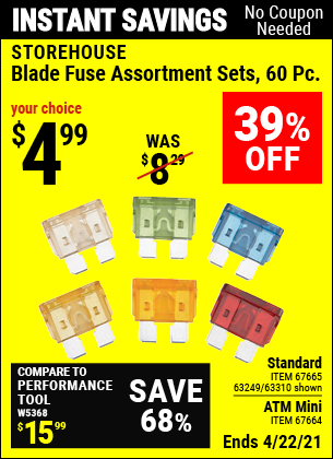 Buy the STOREHOUSE Standard Blade Fuse Assortment 60 Pc. (Item 63310/67665/63249) for $4.99, valid through 4/22/2021.