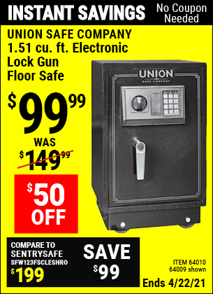 Buy the UNION SAFE COMPANY 1.51 cu. ft. Electronic Lock Gun Floor Safe (Item 64009/64010) for $99.99, valid through 4/22/2021.