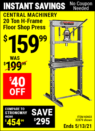 Buy the CENTRAL MACHINERY H-Frame Industrial Heavy Duty Floor Shop Press (Item 32879/60603) for $159.99, valid through 5/13/2021.