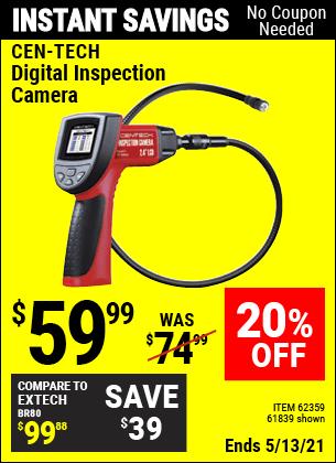 Buy the CEN-TECH Digital Inspection Camera (Item 61839/62359) for $59.99, valid through 5/13/2021.