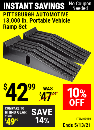 Buy the PITTSBURGH AUTOMOTIVE 13000 Lb. Portable Vehicle Ramp Set (Item 63956) for $42.99, valid through 5/13/2021.