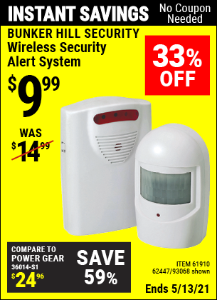 Buy the BUNKER HILL SECURITY Wireless Security Alert System (Item 93068/61910/62447) for $9.99, valid through 5/13/2021.