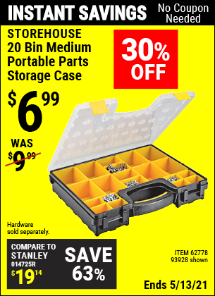 Buy the STOREHOUSE 20 Bin Medium Portable Parts Storage Case (Item 93928/62778) for $6.99, valid through 5/13/2021.