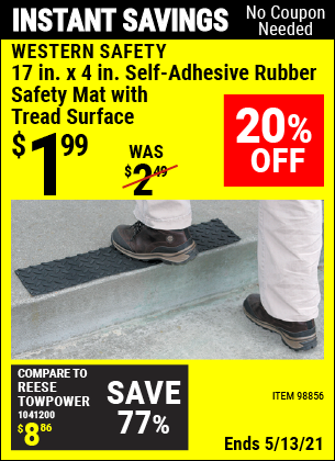 Buy the WESTERN SAFETY 17 in. x 4 in. Self-Adhesive Rubber Safety Mat with Tread Surface (Item 98856) for $1.99, valid through 5/13/2021.