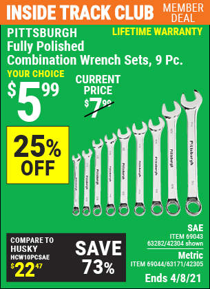 Inside Track Club members can buy the PITTSBURGH Fully Polished SAE Combination Wrench Set 9 Pc. (Item 42304/69043/63282/42305/69044/63171) for $5.99, valid through 4/8/2021.