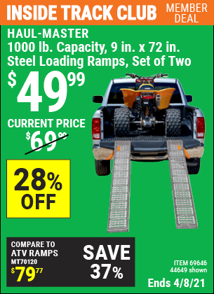 Inside Track Club members can buy the HAUL-MASTER 1000 lb. Capacity 9 in. x 72 in. Steel Loading Ramps Set of Two (Item 44649/69646) for $49.99, valid through 4/8/2021.