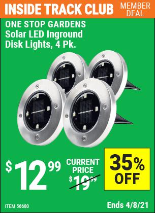 Solar LED Inground Disk Lights, 4 Pk.