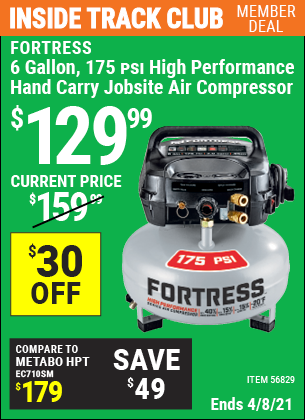 Inside Track Club members can buy the FORTRESS 6 Gallon 175 PSI High Performance Hand Carry Jobsite Air Compressor (Item 56829) for $129.99, valid through 4/8/2021.