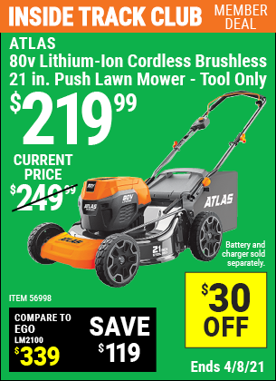 80V Lithium-Ion Cordless Brushless 21 In. Push Lawn Mower - Tool Only