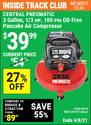 Inside Track Club members can buy the CENTRAL PNEUMATIC 3 Gal. 1/3 HP 100 PSI Oil-Free Pancake Air Compressor (Item 61615/95275/60637) for $39.99, valid through 4/8/2021.