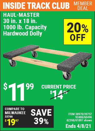 30 in. x 18 in. 1000 lb. Capacity Hardwood Dolly